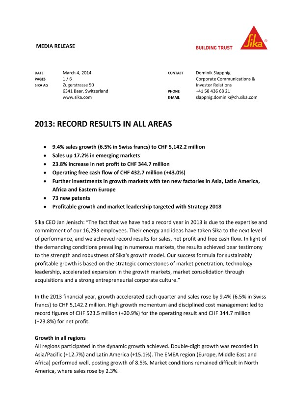 2013: Record Results in all Areas