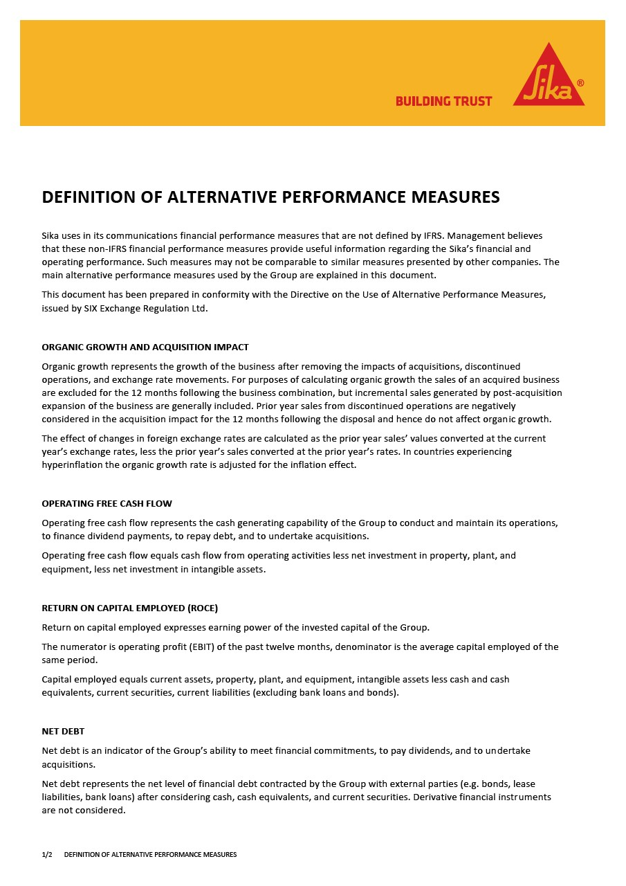 Definition of Alternative Performance Measures