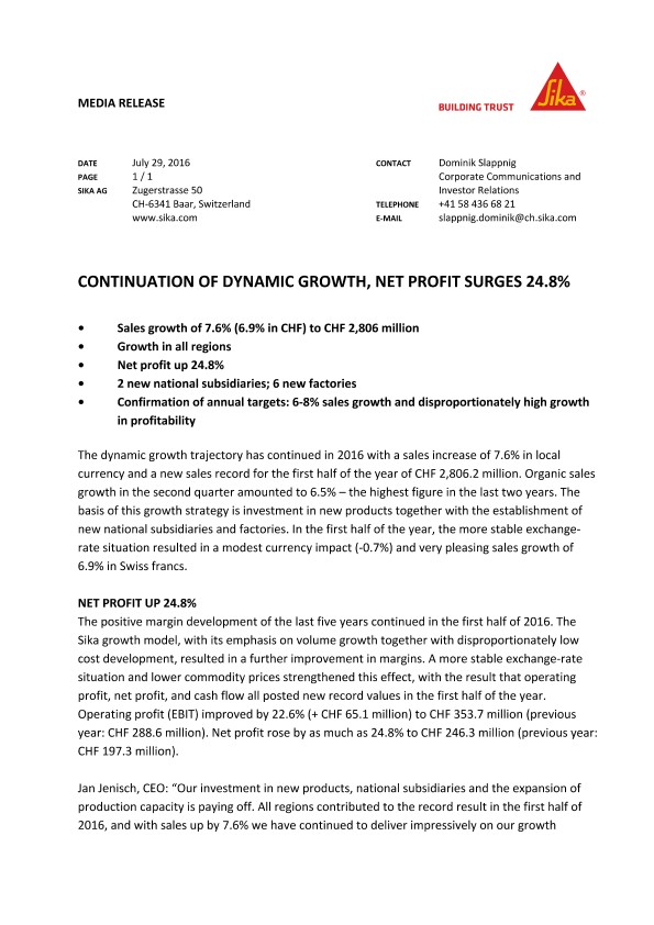 Continuation of Dynamic Growth, Net Profit Surges 24.8%