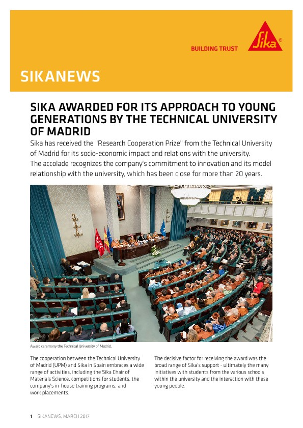 Sika Awarded for its Approach to Young Generations by the Technical University of Madrid