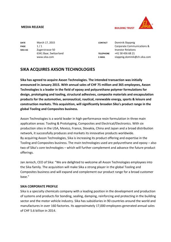 Sika Acquires Axson Technologies