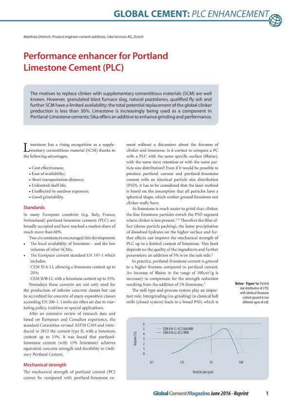 Performance Enhancer for Portland Limestone Cement (PLC)