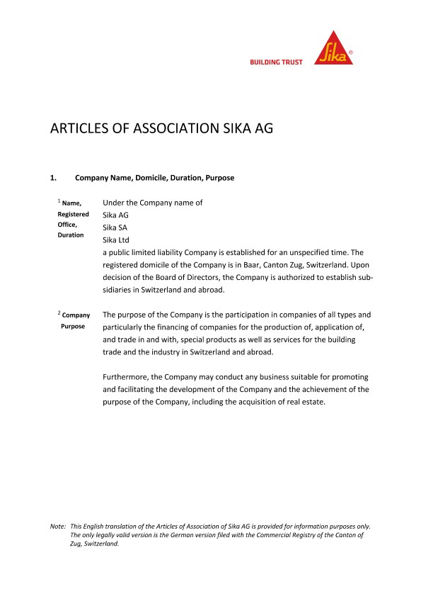 Articles of Association Sika AG