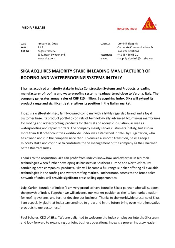 Sika Acquires Majority Stake in Leading Manufacturer of Roofing and Waterproofing Systems in Italy