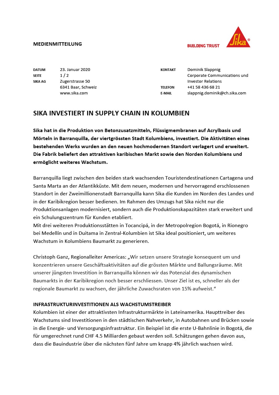 Sika investiert in Supply Chain in Kolumbien - Januar 2020