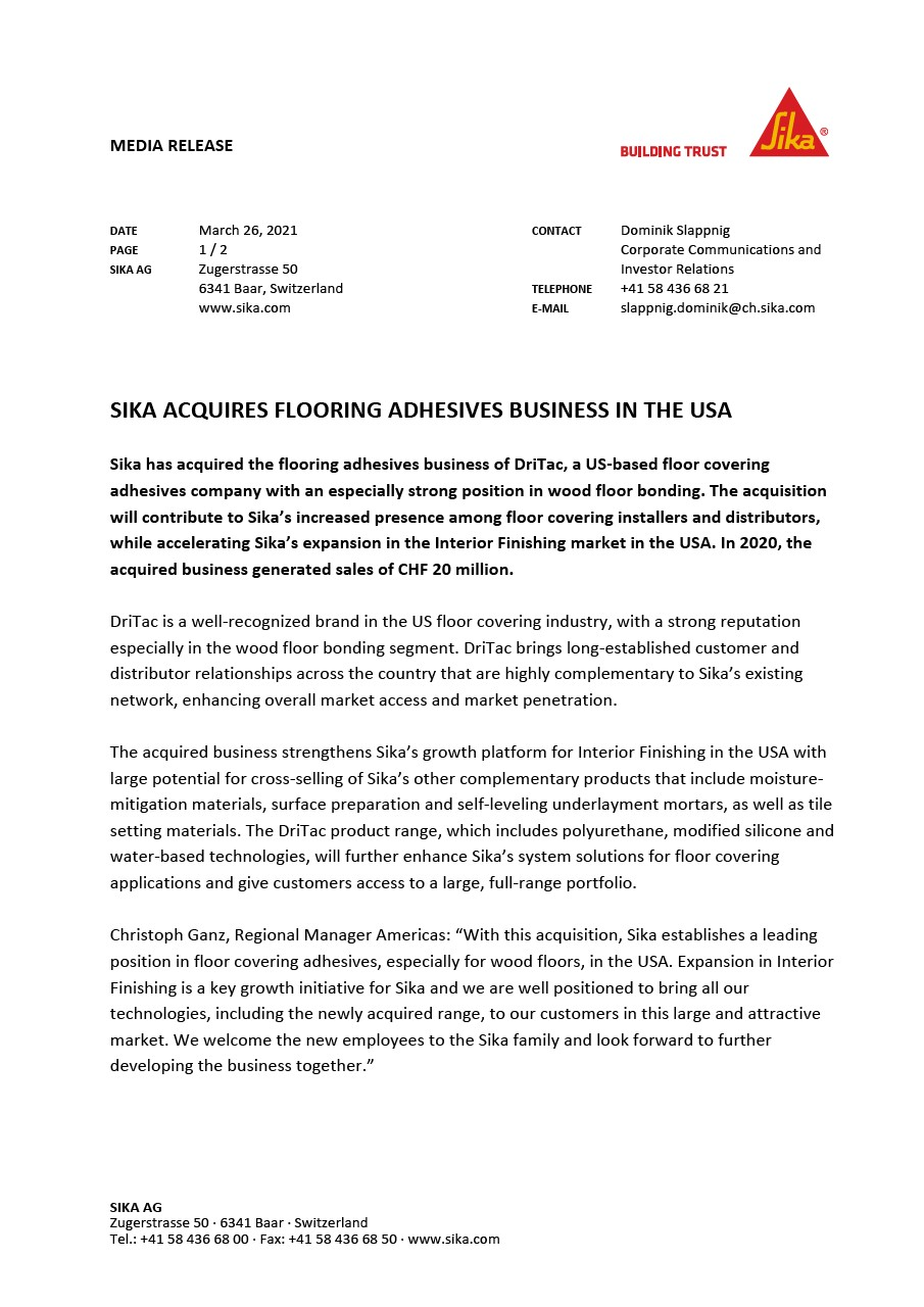 Sika Acquires Flooring Adhesives Business in the USA - March 2021