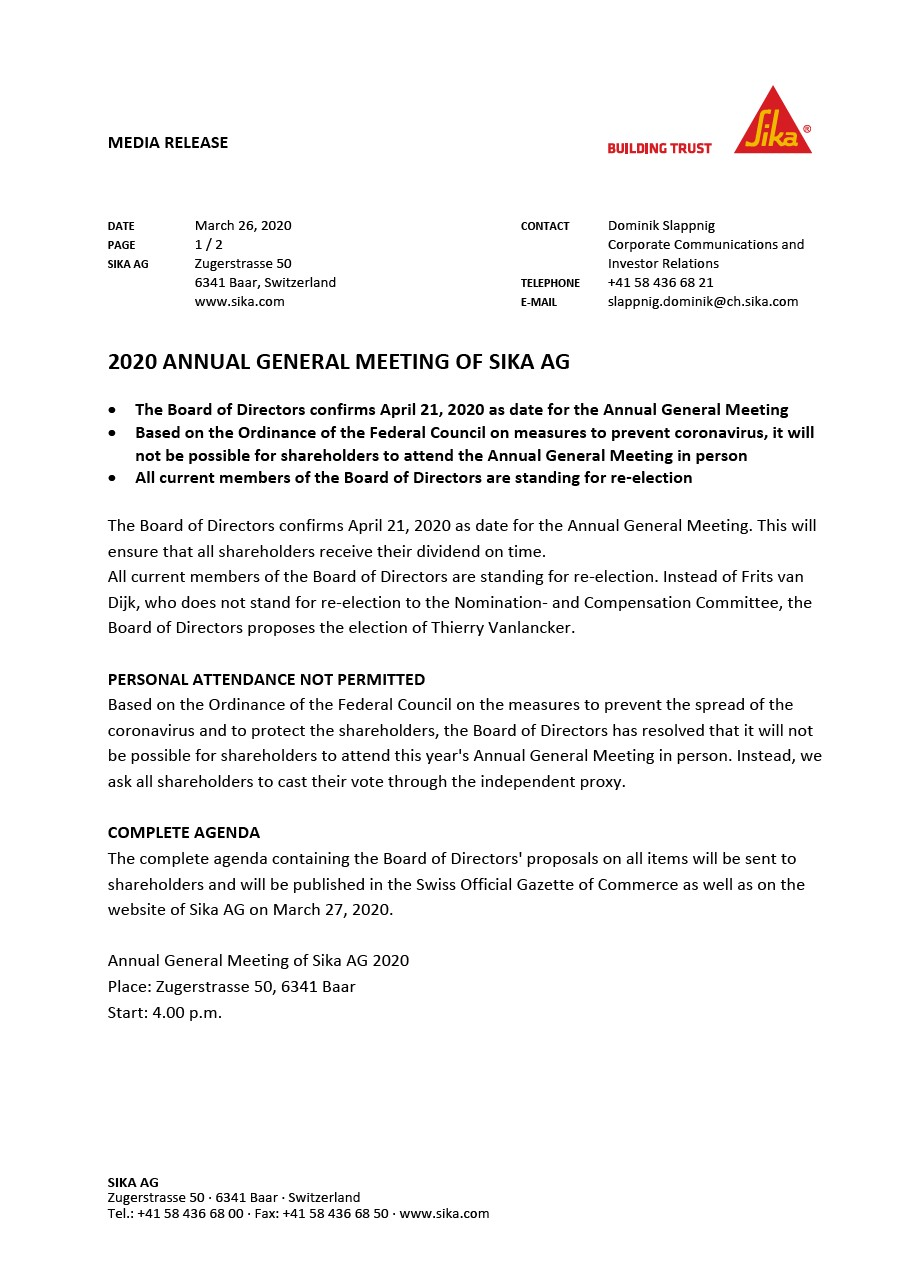 2020 Annual General Meeting of Sika AG - March 2020