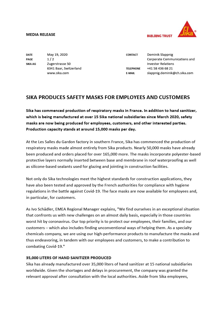 Sika Produces Safety Masks for Employees and Customers - May 2020
