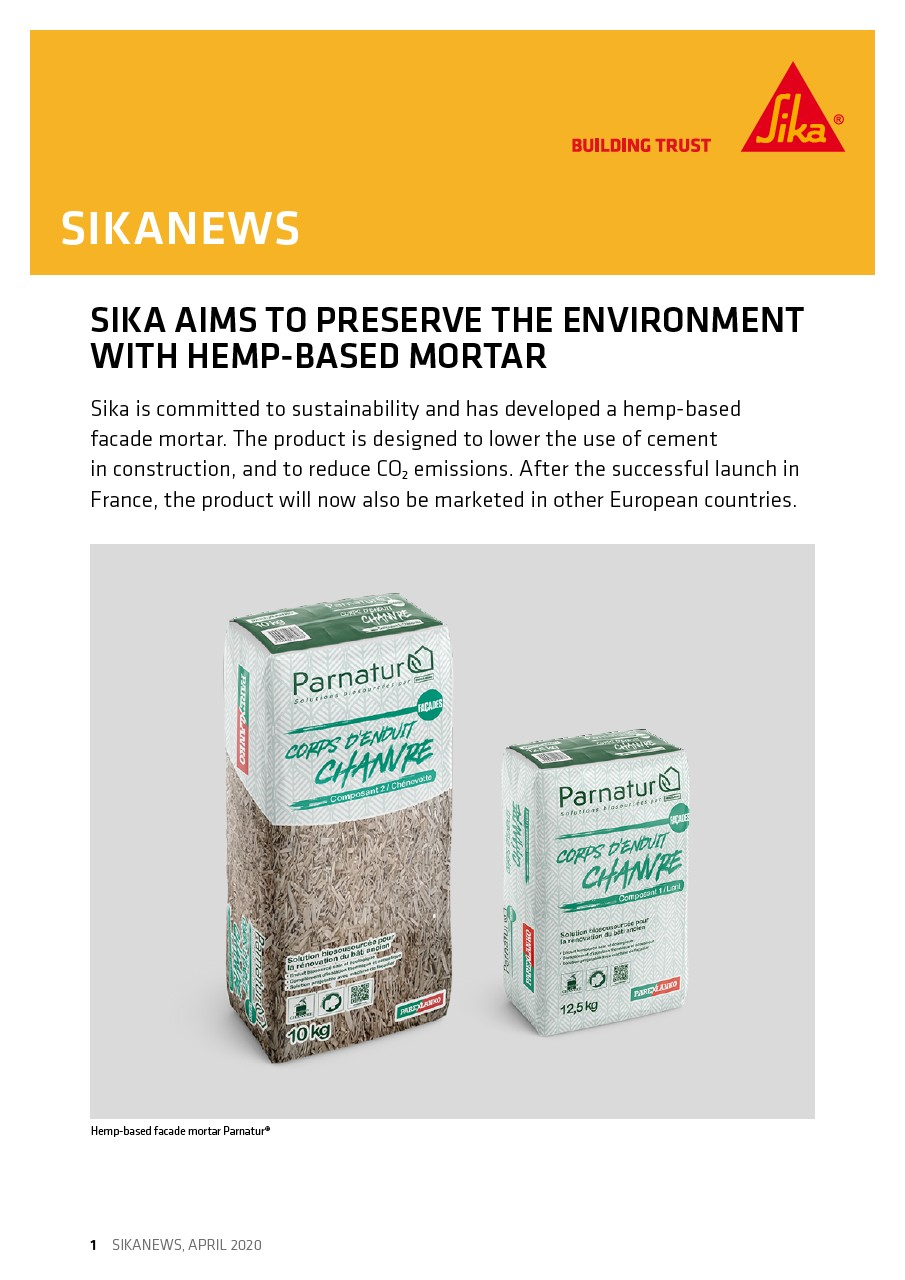 Sika Aims to Preserve the Environment with Hemp-Based Mortar