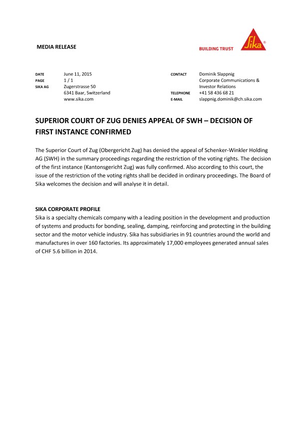 Superior Court of Zug Denies Appeal of SWH