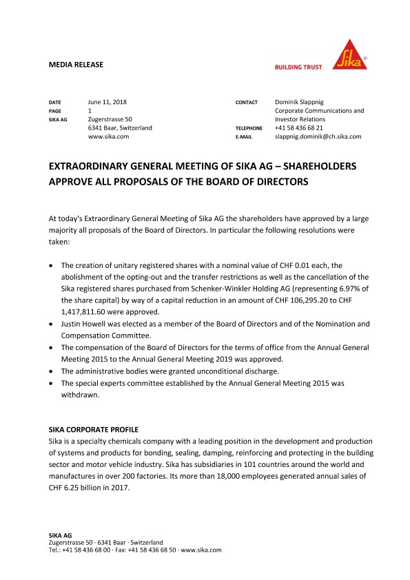 Extraordinary General Meeting of Sika AG - Shareholders Approve All Proposals of the Board of Directors