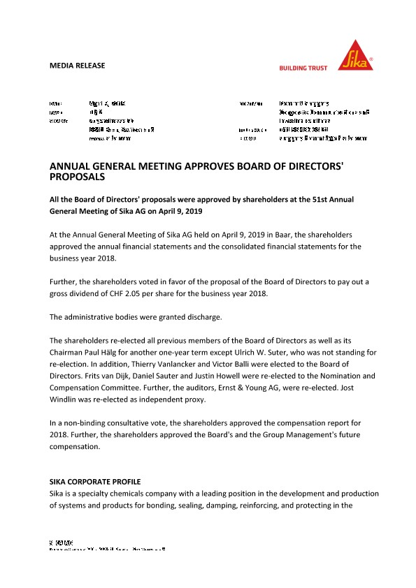 Annual General Meeting Approves Board of Directors' Proposals