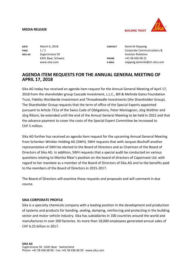 Agenda Item Requests for the Annual General Meeting of April 17, 2018