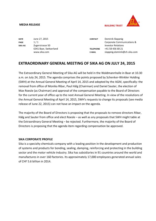 Extraordinary General Meeting of Sika AG on July 24, 2015