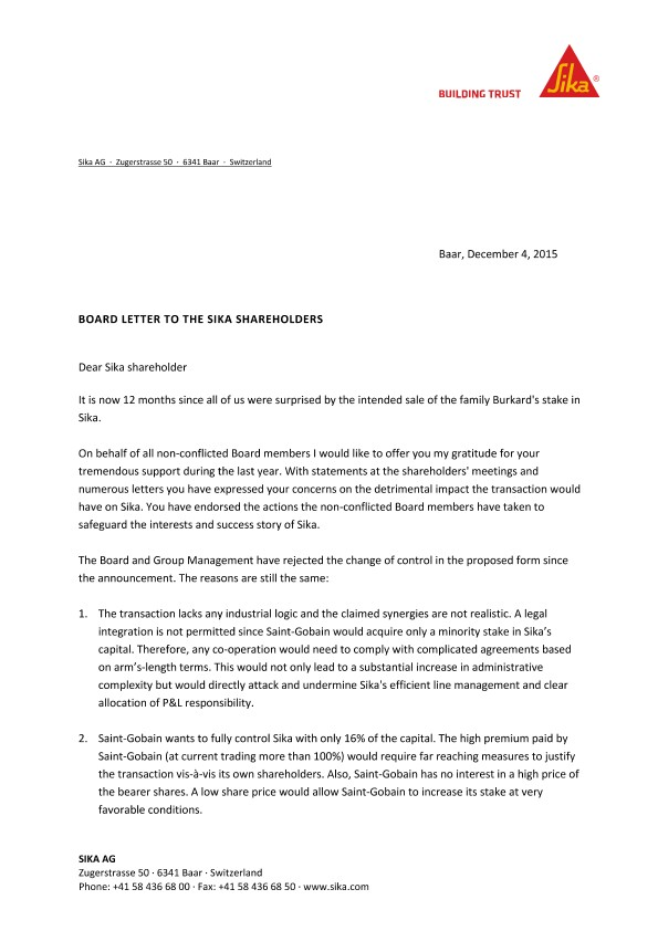 Board Letter to Sika Shareholders