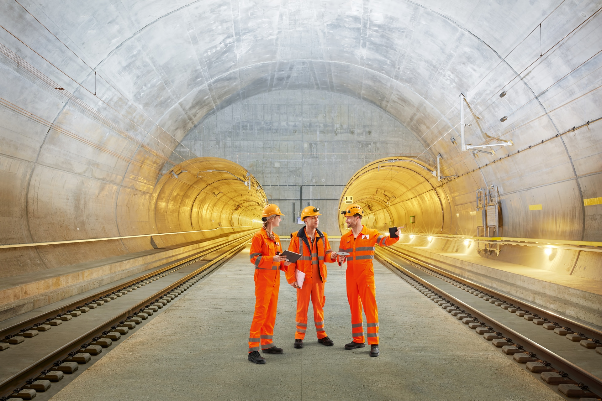 Worker standing in the Gotthard Base Tunnel