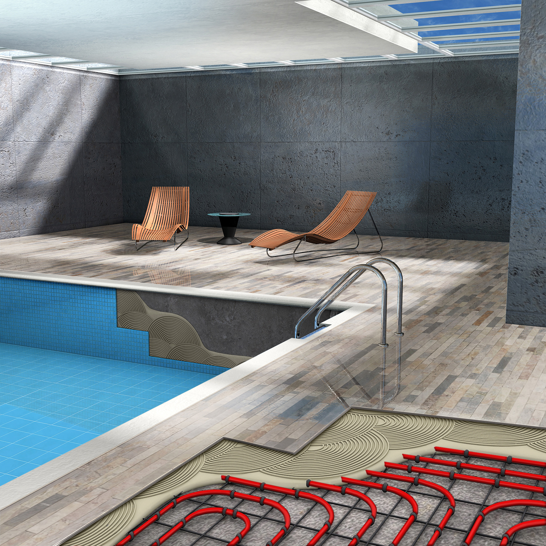 Illustration of pool area with SikaCeram 290 Starlight tile adhesive in heated floor